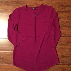 Express Purple Zip Up Blouse Size Small